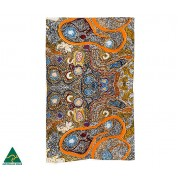 Aboriginal Art Cotton Tea Towel - Elaine Lane (Orange)