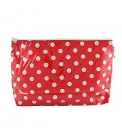 Large Cosmetic Bag - Polkadot Red