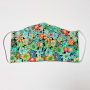 Handmade Triple Layer Face Mask - Floral Green