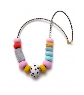 Felicity Big Bead Leather Cord Necklace (80cm)