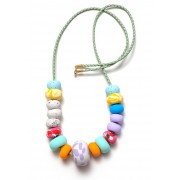 Emily Green Big Bead Necklace - Lipstick Pink Collage
