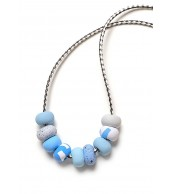 Dot Dash 9 Bead Leather Cord Necklace