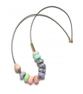 Cindy Small Mixed Bead Leather Cord Necklace (55cm)
