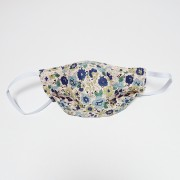 Handmade Cotton Reversible Face Mask - Floral Blue / Gingham Blue