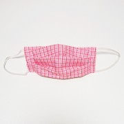 Handmade Cotton Reversible Face Mask - Grid Red / Gingham Yellow