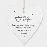 Porcelain Round Heart - Home is Where Family Belongs