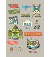 Melbourne Collage Travel Towel