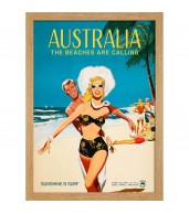 Australia The Beaches Are Calling Art Print Framed