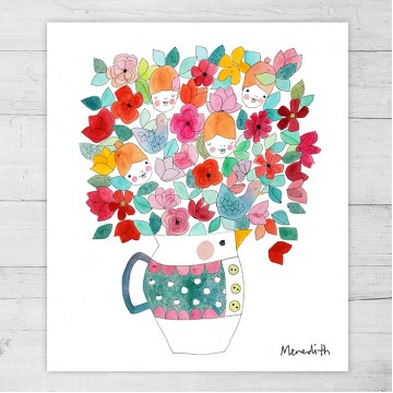 Limited Edition Print By Meredith Gaston - Mr Duck Vase with Summer Posy