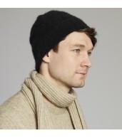 Rib Knit Merino Wool Beanie - Black
