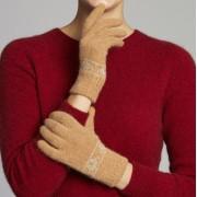 Merino Wool Koala Knitted Gloves - Cashew