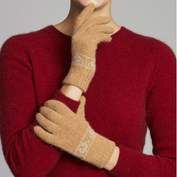 Merino Wool Koala Knitted Gloves - Cashew