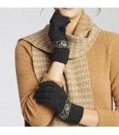 Merino Wool Koala Knitted Gloves - Light Charcoal