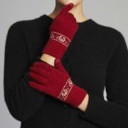 Merino Wool Koala Knitted Gloves - Tango Red