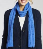Keppel Lacy Knit Short Merino Wool Scarf - Marina