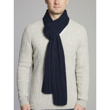 Wyong Textured Cable Knit Merino Wool Scarf - Military