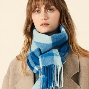 The Plaid Wool Scarf - Blue Mist