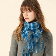 The Plaid Wool Scarf - Ocean Blue/Light Charcoal