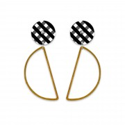 Hanging Moon Stud Earrings - Ebony Gingham