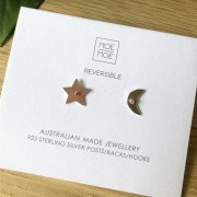 Mini Star Moon Stud Earrings - Christmas Mirrored Gold Signature