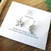 Small Star Moon Drop Earrings - Christmas Oat Gingham