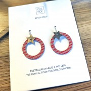 Star Outline Circle Drop Earrings - Christmas Coral Abstract Grid