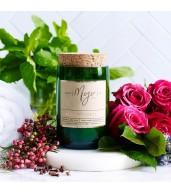 Reclaimed Wine Bottle Soy Wax Candle -  Rose, Pepper & Black Mint