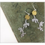 Brass Flower Branch Studs