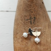 Half Moon + Pearl Earrings