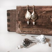 Textured Tear & Pearl Earrings