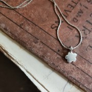 Sterling Silver Floral Silhouette Pendant Necklace