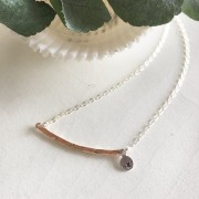 Textured Rose Gold Bar and Charm Necklace
