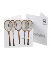 Greeting Card - Wooden Tennis Racquet Line Up