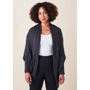 Merino Wool Valentina Cable Wrap Cardigan- Blackcurrent