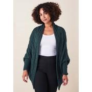 Merino Wool Valentina Cable Wrap Cardigan- Ivy
