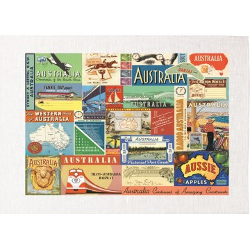 Australia Collage Vintage Advertising Tea Towel