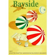 Bayside Beach Vintage Advertising Art Print