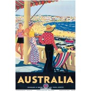 Bondi Beach Vintage Advertising Art Print