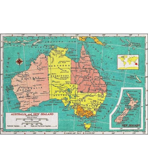 australian map vintage art print